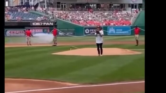Watch: Psaki Flops on First Pitch at Nationals Game...