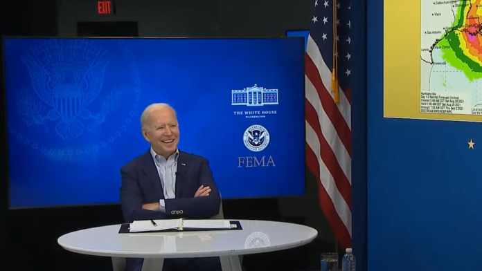Biden seems to be in a very good mood.
