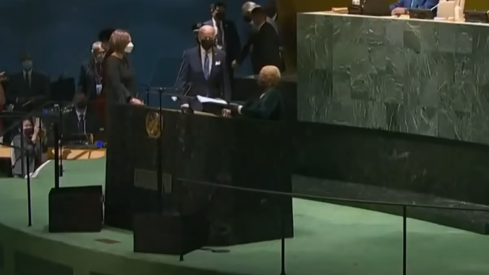 Just Biden Walking to Give His Speech at the UN...