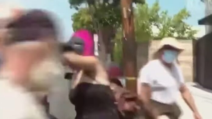Must See: Larry Elder Attacked by Woman in Gorilla Mask...