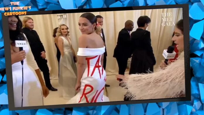 Watch: AOC Pays $30k to Attend While Wearing a 'Tax the Rich' Dress...